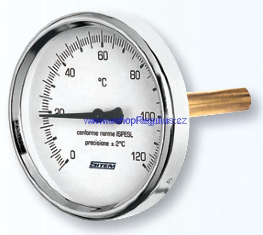 """Teploměr 0-120°C s jímkou (l= 100, 1/2""""), zadní, d=63 mm"""