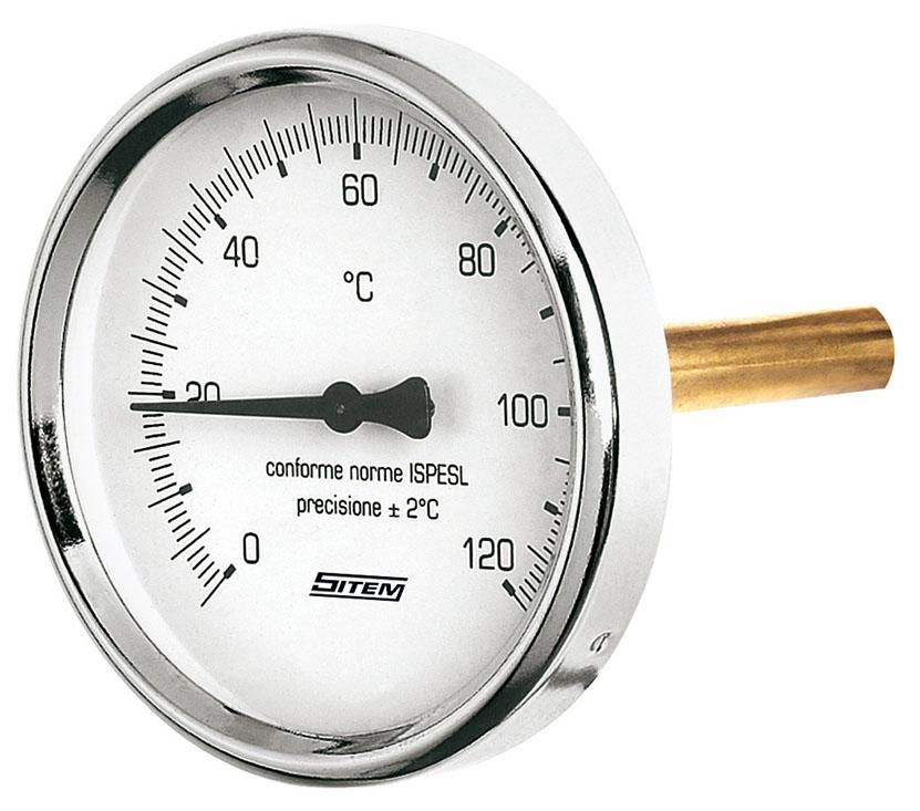 """Teploměr d=63 s jímkou l= 45 1/2"""", zadní, 0-120°C"""
