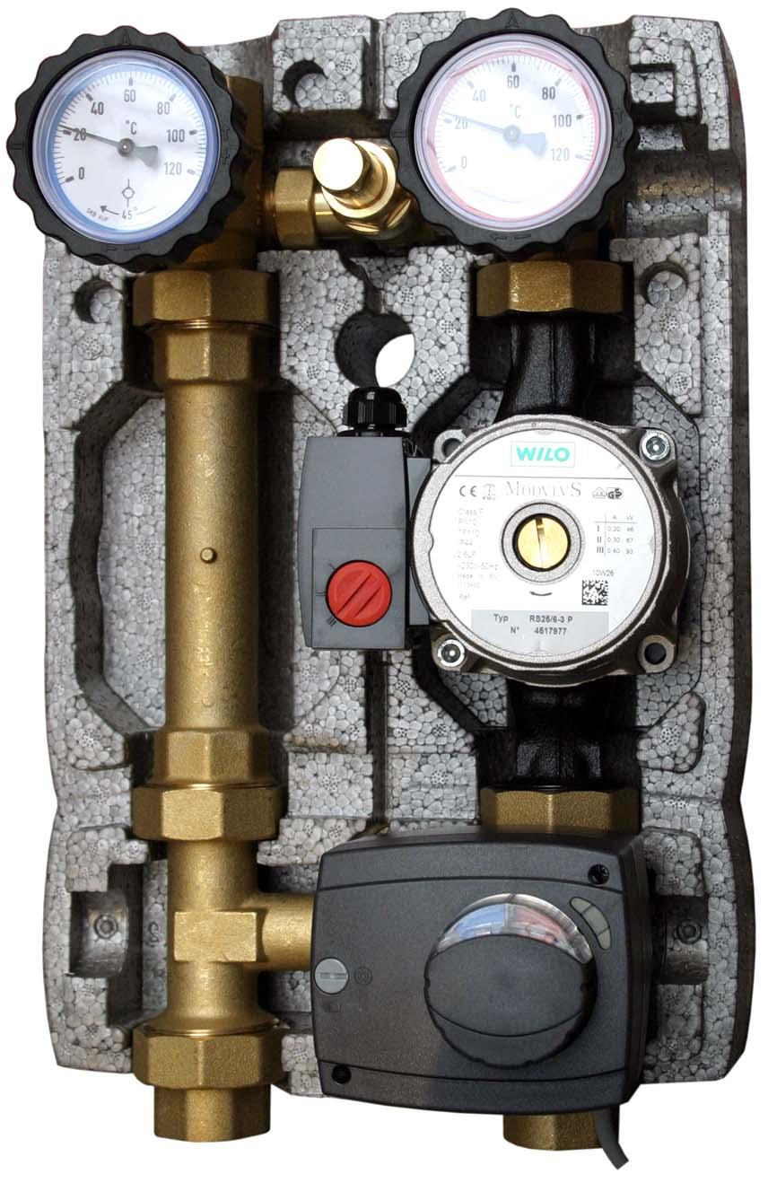 Čerpadlová skupina M3 Mix W6, směšovací ventil s pohonem, by-pass (0-0