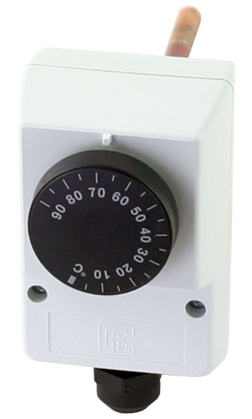 Termostat provozní zakrytovaný na jímku 0-90°C, čidlo 6,5x100