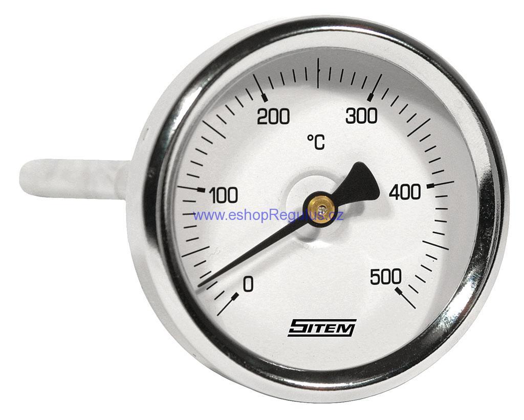 """Sada Teploměr d=63 stonkový l=100, zadní, 0-500°C s jímkou 1/2"""""""