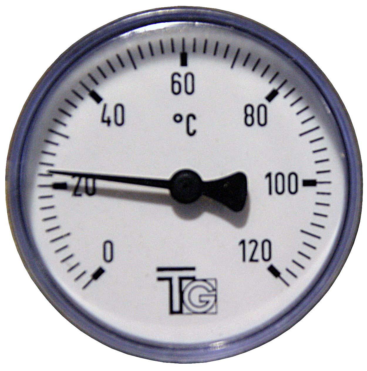 """Teploměr d=63 s jímkou l= 40 1/2"""", zadní, 0-120°C"""