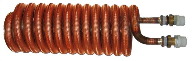 """Trubkový výměník - topný had 0,60 m2, 3/4"""", průměr hadu 145 x délka 410 mm"""