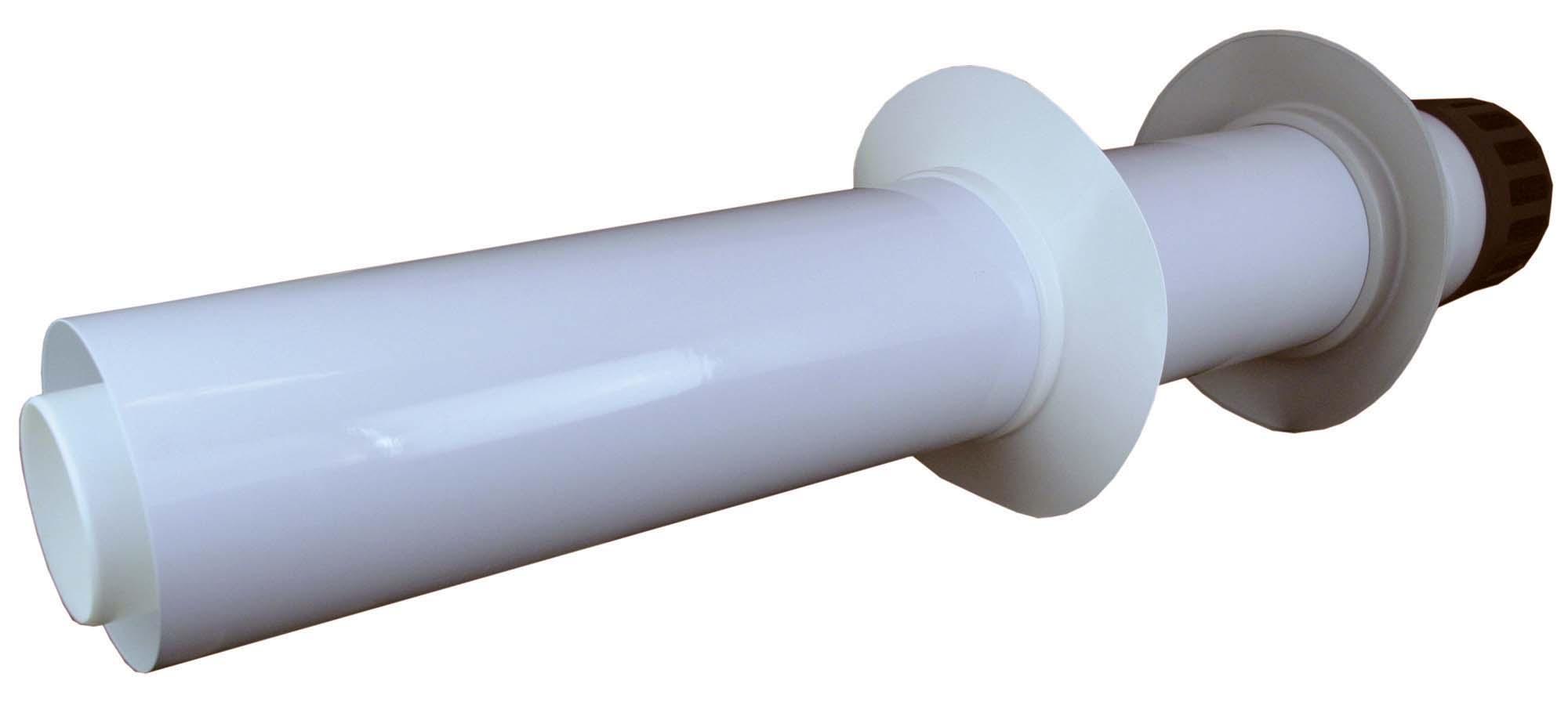 Trubka 80/125, Plast, přes zeď s plastovou koncovkou, 0,9 m, sání-výfuk