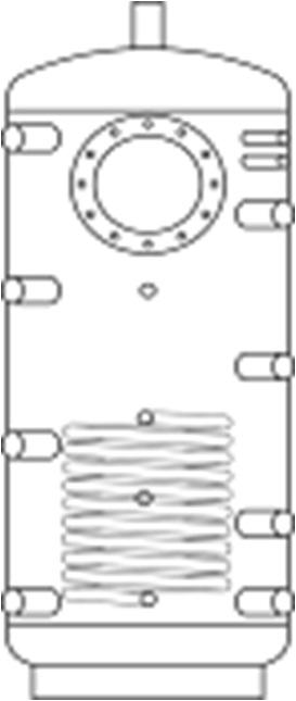 Akumulační nádrž 300 l bez izol.,pro 1 přírubu,1spirála