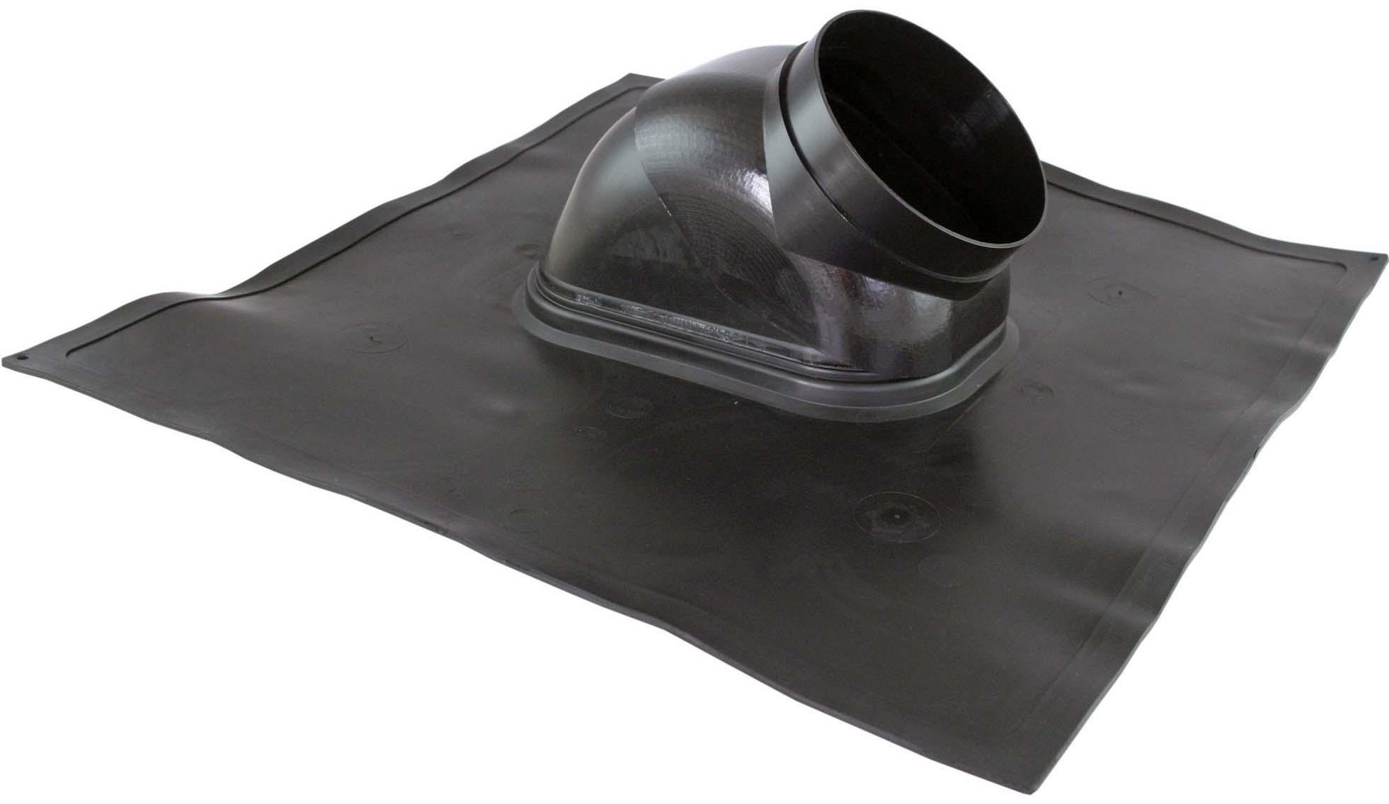 Průchodka střechou šikmá - plech hliník, 18°- 44°, černá, průměr 125 mm